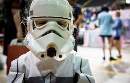 Young girl dressed up for 'Star Wars'