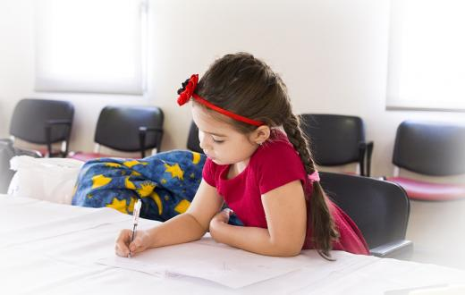 girl writing school education