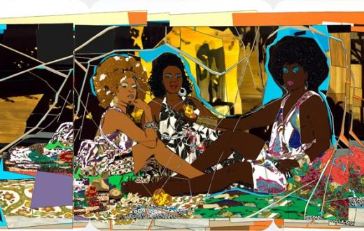 Mickalene Thomas' painting of three women