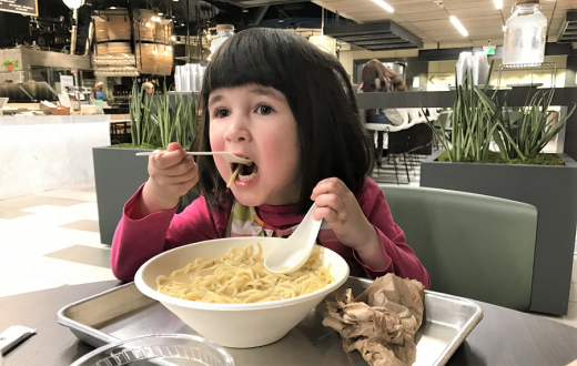 Eating noodles at Lincoln South Food Hall