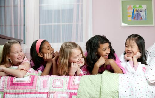 happy girls at sleepover