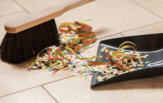 Broom and party confetti