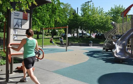 Workout equipment at the park