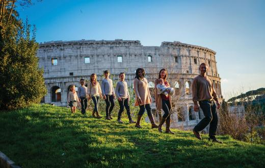 family worldschooling at the colosseum