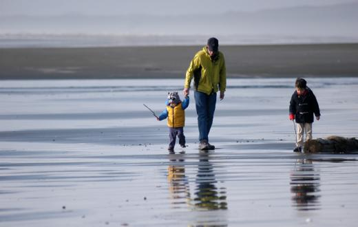Walking the beach at Seabrook destination for families on the Washington coast