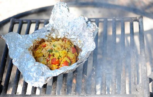 Camp fire paella