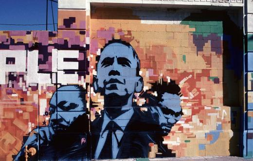 Obama-MLK-Malcolm-X-mural-Men-of-Change-exhibit-Washington-State-History-Museum-Tacoma