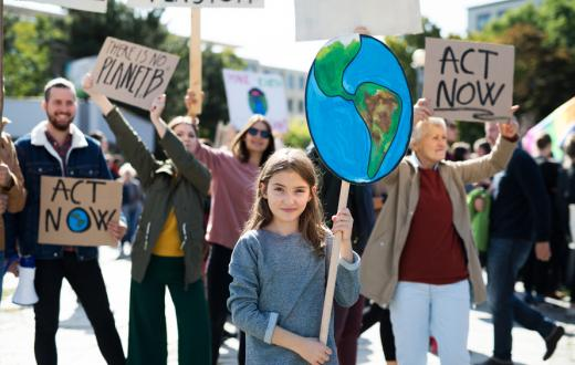 young girl at climate change march