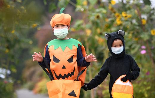 boys wearing a pumpkin and cat costume and face masks for Halloween 2020