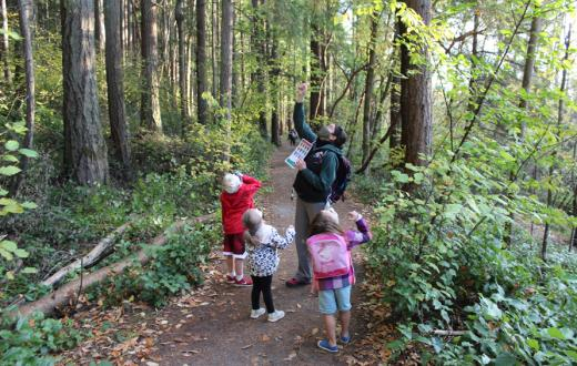 kids on the trail with a nature guide
