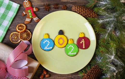 New year 2021 cookies on a plate