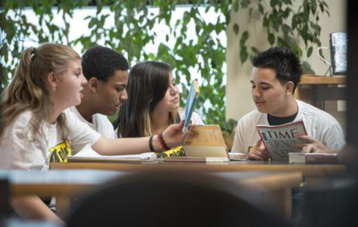A group of teens participate in a No Place for Hate table talk