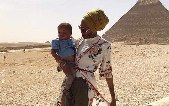 The author and her son in Egypt