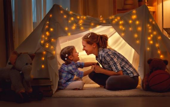 Mom and kid in tent