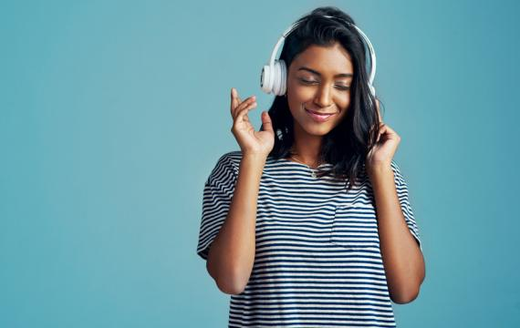 teen listening to music