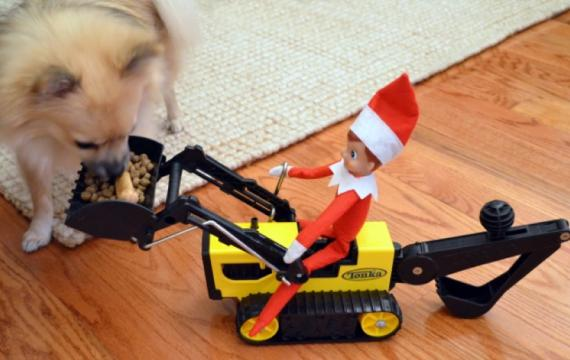 Elf-on-a-backhoe