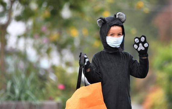 Cute boy in black cat costume with mask holding pumpkin best weekend activities Seattle Bellevue Tacoma kids families
