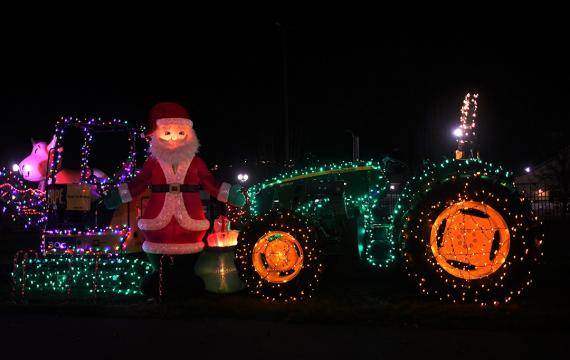 Santa and a tractor at Holiday Magic at the Fair new holiday show Washington State Fairgrounds