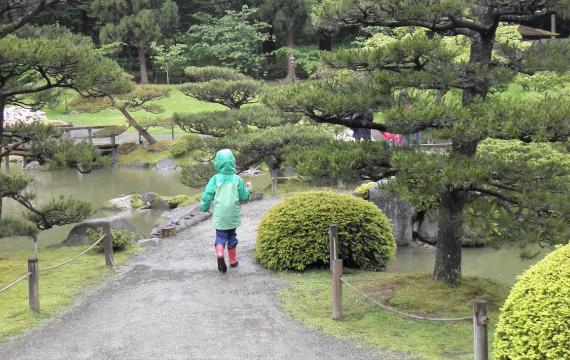 Child in green rain jacket and boots walking away from the camera on a gravel path in the Seattle Japanese Garden reopening for spring on March 6, 2021